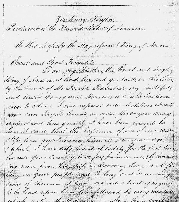 Letter from President Zachary Taylor